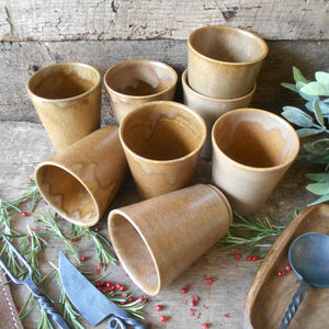 Eight Digoin Stoneware Tumblers. Medieval Re-enactment Pottery Goblet. Gréspots Ceramic Cups. Cups for Reenactment. Medieval Drinking Vessel