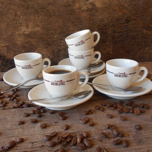 Set of Five French 'Cafés Merling' Espresso Cups and Saucers. Parisian Café/Bistro Décor. Ideal for Serving Coffee and Croissants Breakfasts