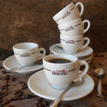 Load image into Gallery viewer, Set of Five French 'Cafés Merling' Espresso Cups and Saucers. Parisian Café/Bistro Décor. Ideal for Serving Coffee and Croissants Breakfasts