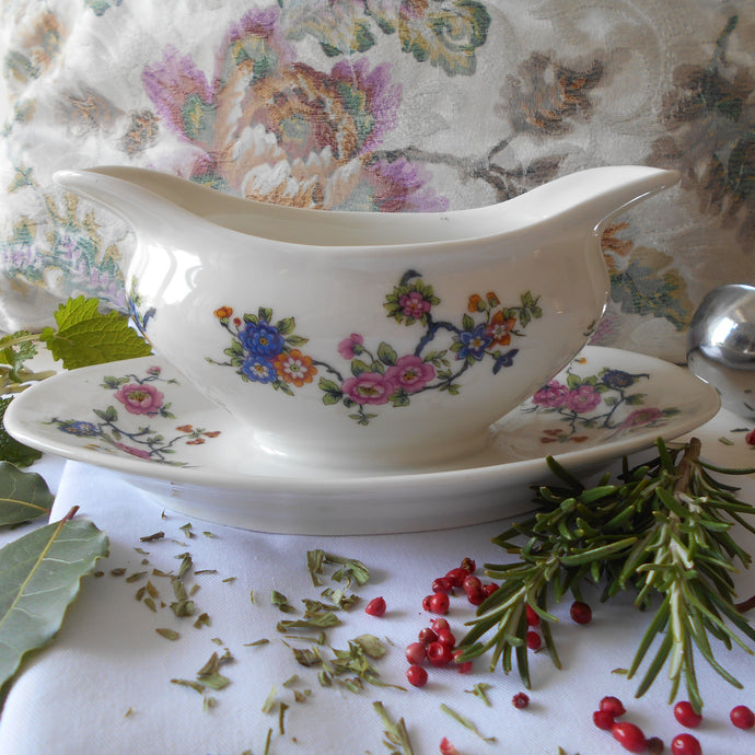 Rare Limoges Porcelain Sauce Boat with Fixed Under Plate. Early 1900's 'Michelaud Frères' Gravy Boat.