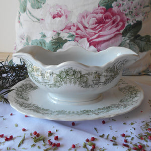 Rare French Ironstone Sauce Boat with Fixed Under Plate. Early 1900's 'St. Amand et Hamage Nord' Gravy Boat.