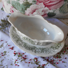 Load image into Gallery viewer, Rare French Ironstone Sauce Boat with Fixed Under Plate. Early 1900's 'St. Amand et Hamage Nord' Gravy Boat.