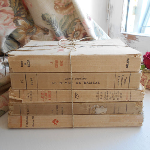 Cream Book Stack of Five Vintage French Books. Book Bundle of Classic Literature by Voltaire, Honoré de Balzac, Denis Diderot & Paul Claudel