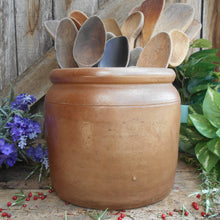 Load image into Gallery viewer, Large French Antique Confit Pot. French Country Kitchen Farmhouse Decor, Circa 1910. Rustic Stoneware Confit Jar.