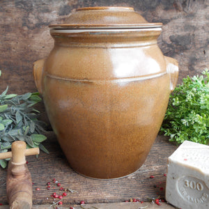 French Stoneware Oil Jar. Large Clay Oil Jar with Lid, Handles and Tap/Cork Opening. Rustic Farmhouse Décor. Hand Glazed Pottery Oil Urn.