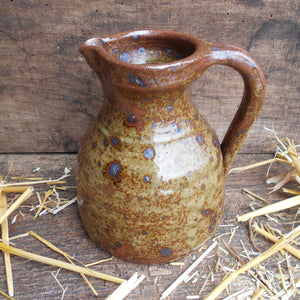 Speckled Stoneware Jug. Wabi Sabi Vase. Antique French Rustic Stoneware Jug with Handle and Pouring Lip. Late 18th /Early 19th Century Jug.
