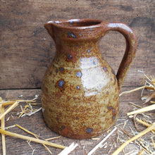 Load image into Gallery viewer, Speckled Stoneware Jug. Wabi Sabi Vase. Antique French Rustic Stoneware Jug with Handle and Pouring Lip. Late 18th /Early 19th Century Jug.