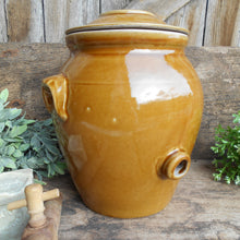 Load image into Gallery viewer, French Stoneware Oil Jar. Large Clay Oil Jar with Lid, Handles and Tap/Cork Opening. Rustic Farmhouse Décor. Hand Glazed Pottery Oil Urn.