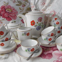 Load image into Gallery viewer, Complete 1950's 'Moulin des Loups', Floral, Porcelain Tea Set.