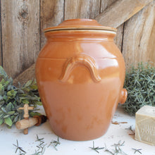Load image into Gallery viewer, Large, French, Stoneware Oil Jar. Clay Olive Oil Jar with Lid, and Tap/Cork Opening. Farmhouse Kitchen Décor. Hand Glazed Pottery Oil Urn
