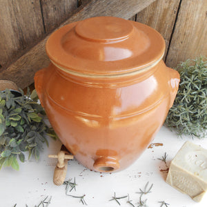 Large, French, Stoneware Oil Jar. Clay Olive Oil Jar with Lid, and Tap/Cork Opening. Farmhouse Kitchen Décor. Hand Glazed Pottery Oil Urn