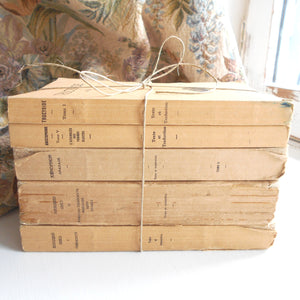 Beige Book Stack of Five Vintage French Books. Book Bundle of Classic Greek Literature by Aristophanes, Thucydides, Xenophon & Theocritus.