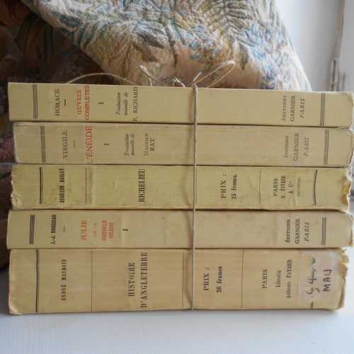 Vanilla/Yellow Stack of Five Antique French Books. Famous Literature by Jean-Jacques Rousseau, Virgil and Horace. French History Books.