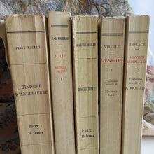 Load image into Gallery viewer, Vanilla/Yellow Stack of Five Antique French Books. Famous Literature by Jean-Jacques Rousseau, Virgil and Horace. French History Books.