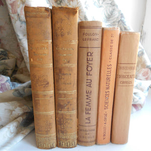 Antique Book Bundle of Peach, Orange, Light Brown Books. French Book Stack of Classic Literature by Voltaire & Montesquieu. Decorative Books