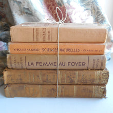 Load image into Gallery viewer, Antique Book Bundle of Peach, Orange, Light Brown Books. French Book Stack of Classic Literature by Voltaire & Montesquieu. Decorative Books