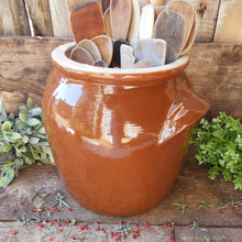 Load image into Gallery viewer, Enormous Confit Pot. French Country Kitchen/ Rustic Farmhouse Decor. Rustic Stoneware Confit Jar. Umbrella Pot. Kitchen Utensils Storage.