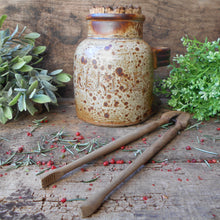 Load image into Gallery viewer, Speckled Stoneware Cherry Jar with Cork Stopper and Wooden Tongs. Wabi Sabi Jar. French Rustic 'Cerises' Storage Jar. Handmade Pottery.