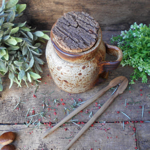 Speckled Stoneware Cherry Jar with Cork Stopper and Wooden Tongs. Wabi Sabi Jar. French Rustic 'Cerises' Storage Jar. Handmade Pottery.