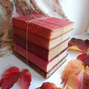 Antique French Red Book Bundle. Red Book Stack of Classic French Literature. Works by Jules Verne, Corneille, Boileau & Guy de Maupassant.