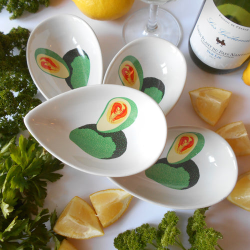 Set of Four Avocado Dishes. Mid-Century Avocado Bowls. Guacamole Dishes. Entrée/ Hors d'oeuvre (Starter) Serving Dishes. Tapas Dishes.
