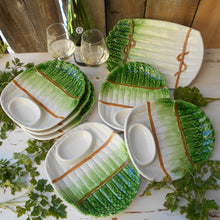 Load image into Gallery viewer, Six Asparagus Plates & Asparagus Platter. Asparagus Shaped Plate. Kitsch Asparagus Plate. Asparagus Serving Dishes. Vegetable Serving Dishes