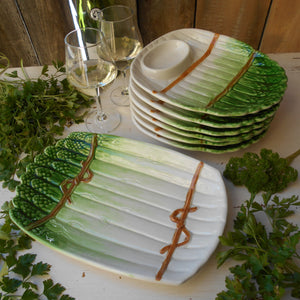Six Asparagus Plates & Asparagus Platter. Asparagus Shaped Plate. Kitsch Asparagus Plate. Asparagus Serving Dishes. Vegetable Serving Dishes