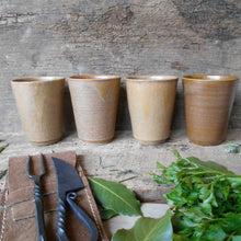 Load image into Gallery viewer, Four Digoin Stoneware Tumblers. Medieval Re-enactment Pottery Goblets. Medieval Drinking Vessels. Medieval Wedding Cups. Cup for Reenactment