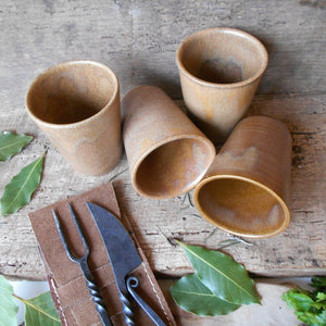 Four Digoin Stoneware Tumblers. Medieval Re-enactment Pottery Goblets. Medieval Drinking Vessels. Medieval Wedding Cups. Cup for Reenactment