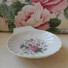 Load image into Gallery viewer, Limoges Porcelain Scallop Shell Shaped Pink Roses Dishes. Shabby Chic Caviar Dish. Ideal 'French Boudoir' Dressing Table Jewelry/ Soap Dish.