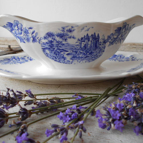 Rare French Ironstone Sauce Boat with Fixed Under Plate. Early 1900's, Sarreguemines, Gravy Boat. Blue and White