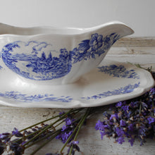 "Load image into Gallery viewer, Rare French Ironstone Sauce Boat with Fixed Under Plate. Early 1900's, Sarreguemines, Gravy Boat. Blue and White ""Castle"" Design Sauce Bowl."