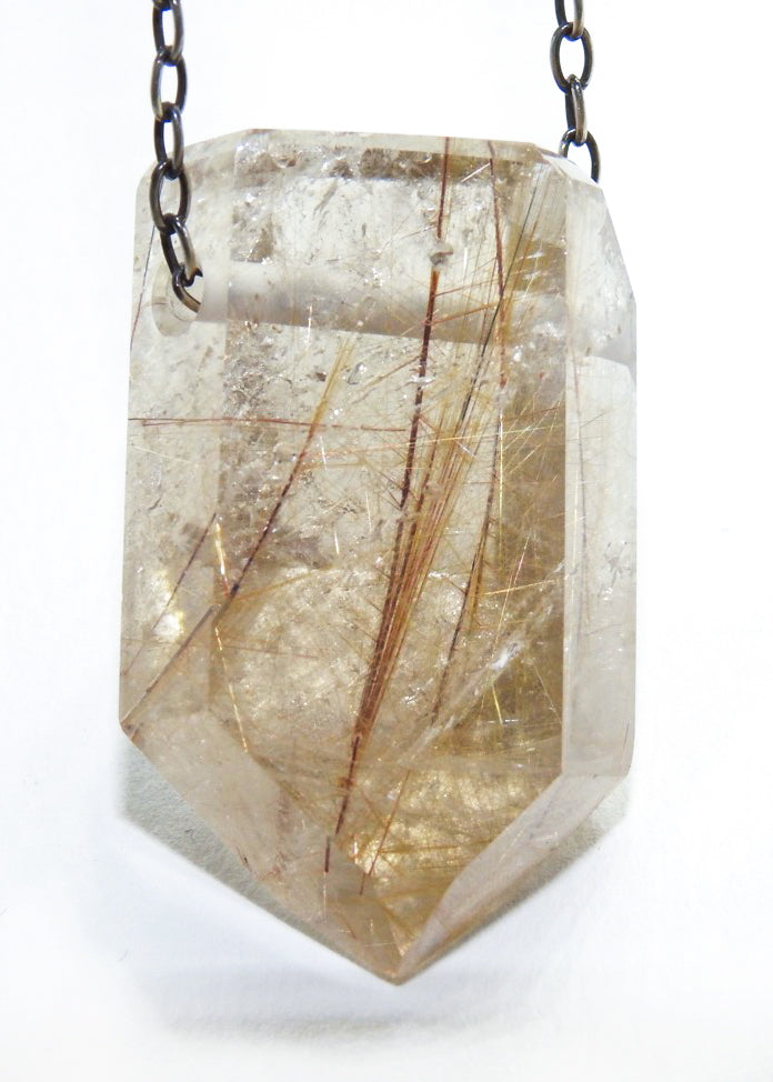 Gold Rutile Quartz Crystal Necklace