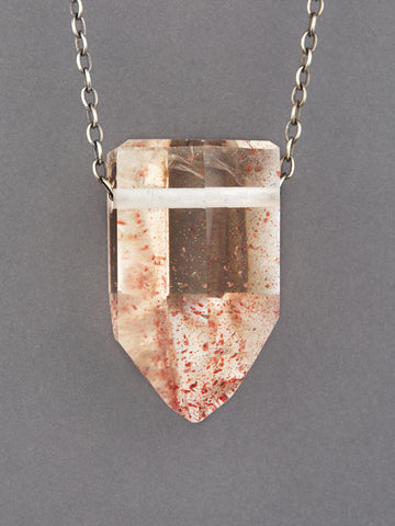 Quartz Crystal Necklace with Hematite Inclusion