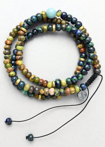Amazonite, Azurite, Malachite and Serpentine Wrap Bracelet