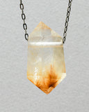 Gold Rutile Quartz Crystal with Hematite Necklace
