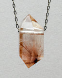 Quartz Crystal with Gold  Rutile Star Burst Necklace