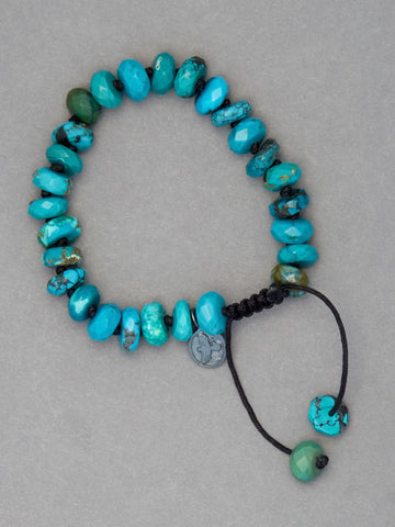 Arizona Turquoise Faceted Rondelle Bracelet (10mm)