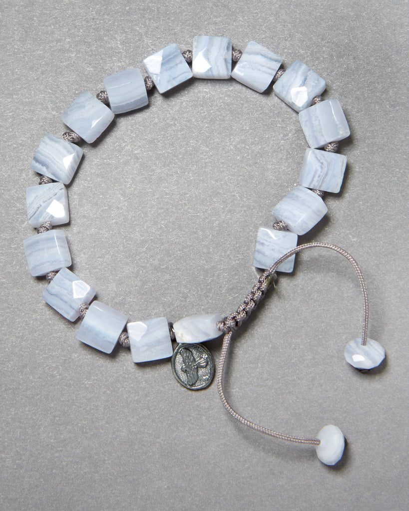 Blue Lace Agate Faceted Square Bracelet