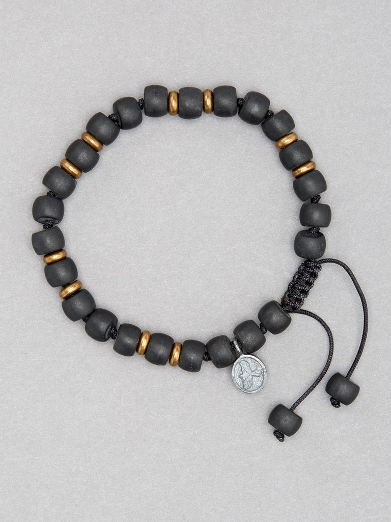 Matte Black Onyx Barrel Bracelet with Brass Beads