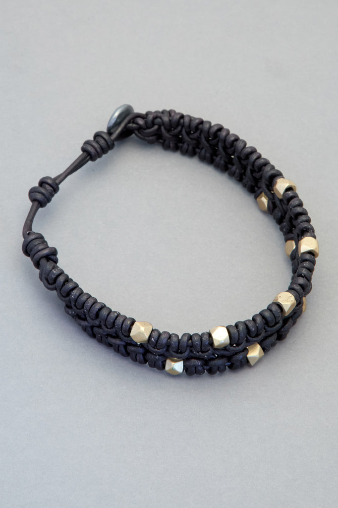 Black Leather Bracelet with Faceted Indian Brass