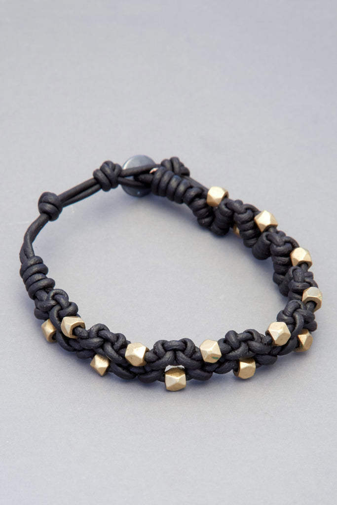 Black Leather Zig Zag Knot Bracelet with Antique Indian Brass Beads