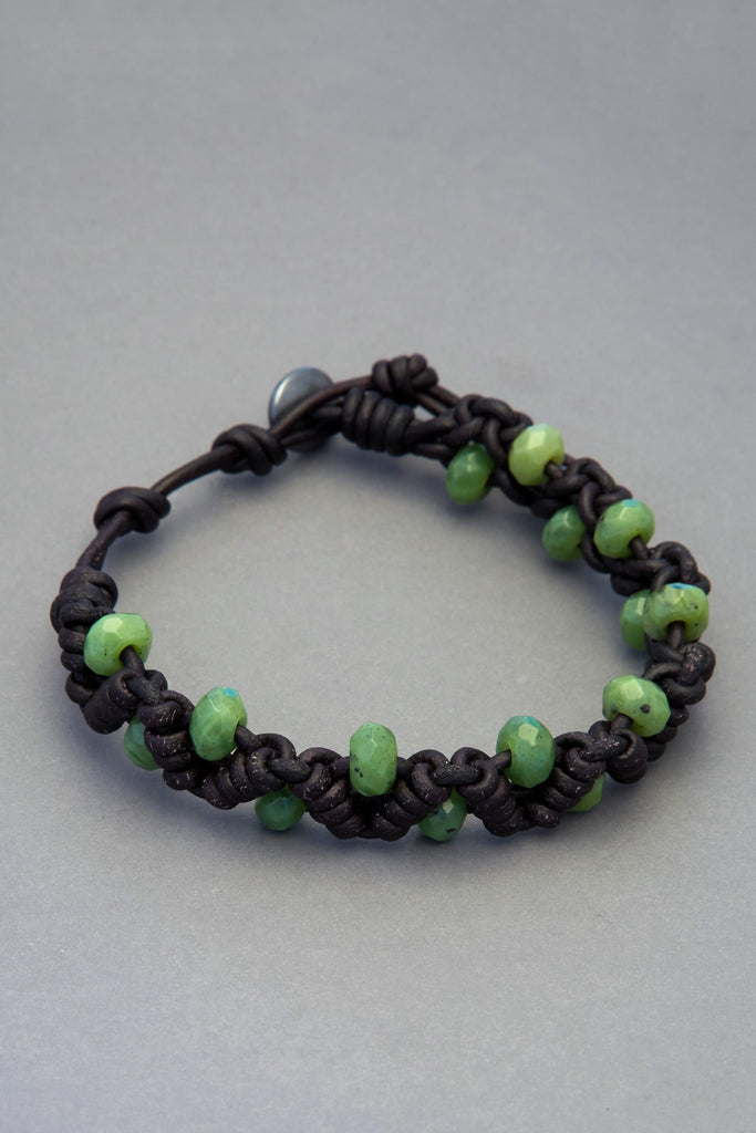 Black Leather Zig Zag Knot Bracelet with Canadian Jade Beads