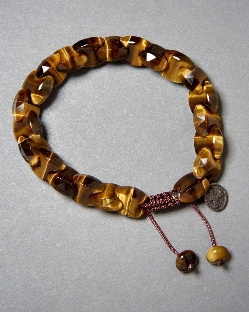 Gold Tiger Eye Chain Cut Bracelet (12mm)