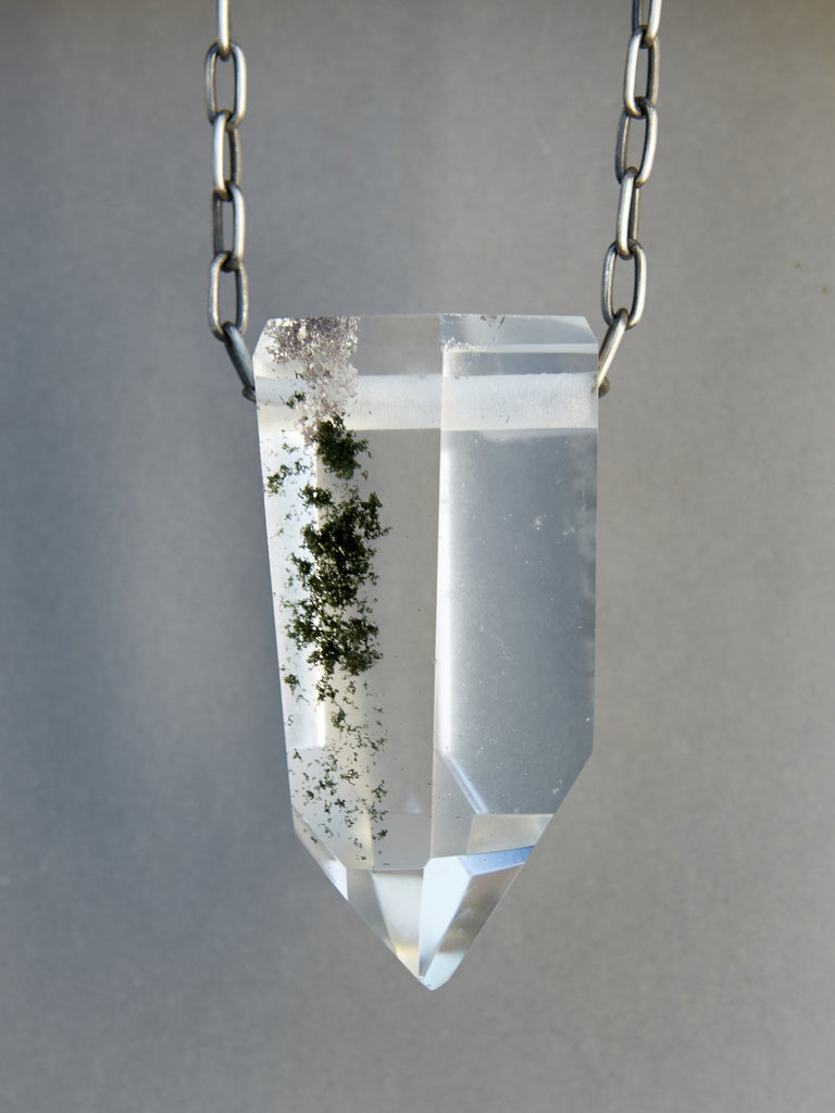 Quartz Crystal Necklace with Green Chlorite Inclusions