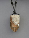 Quartz Crystal with Chlorite Inclusions on a Leather Cord