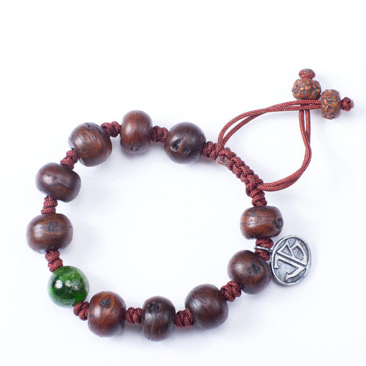 Tibetan Prayer Beads with Diopside Center Stone