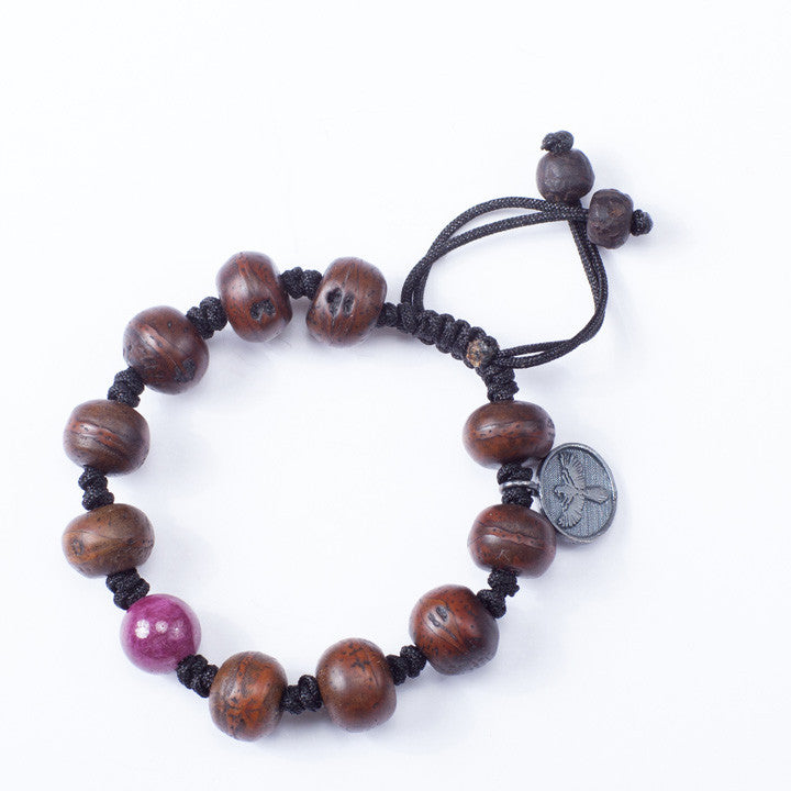 Tibetan Prayer Beads with Natural Ruby Center Stone
