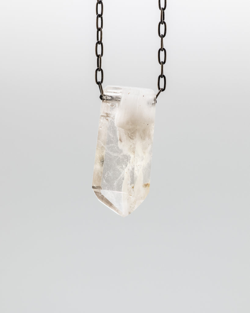 Quartz Crystal with Amphibole Inclusions Necklace