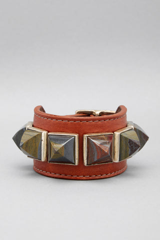 Iron Tiger Eye Pyramid Leather Cuff